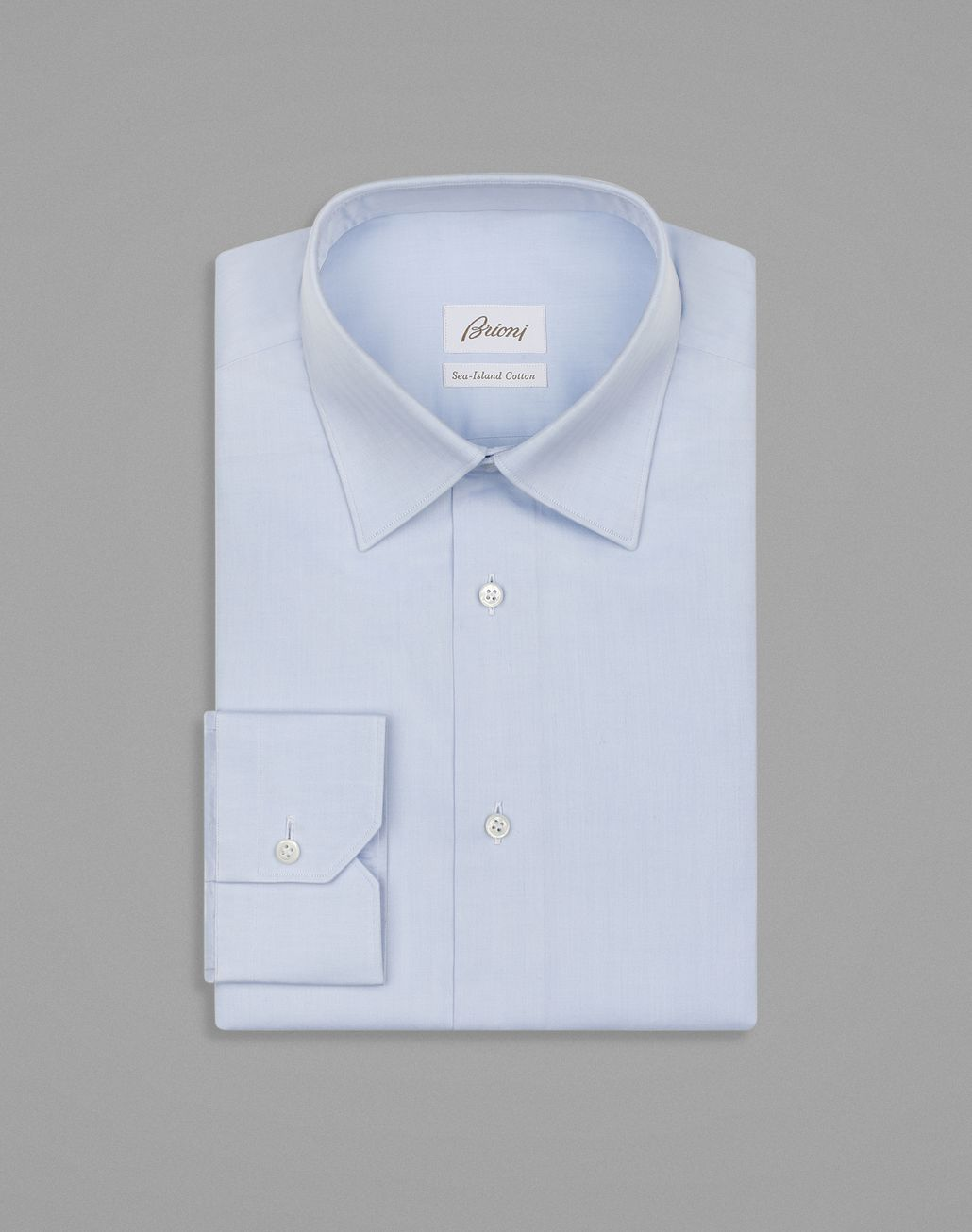 BRIONI Light Blue Herringbone Shirt Formal shirt Man f