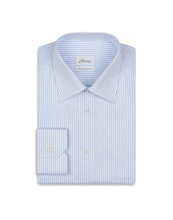 Blue and White Striped Formal Shirt