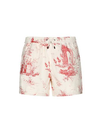 White and Red Short Swims Short