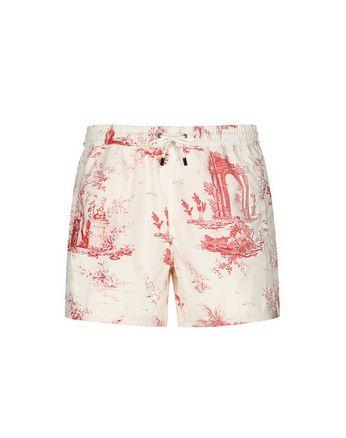 Короткие красно-белые шорты для плавания