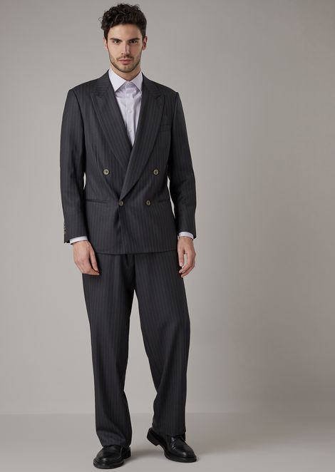 Double-breasted heritage suit in pinstriped gabardine