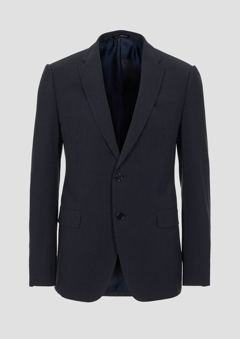 Virgin wool and silk suit with single-breasted jacket
