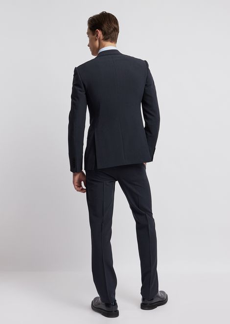 Virgin wool and silk suit with single-breasted blazer