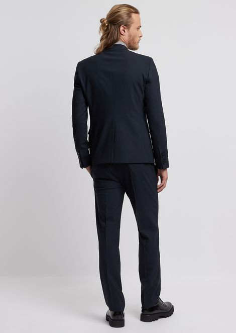 Suit in stretch cool wool with single-breasted blazer