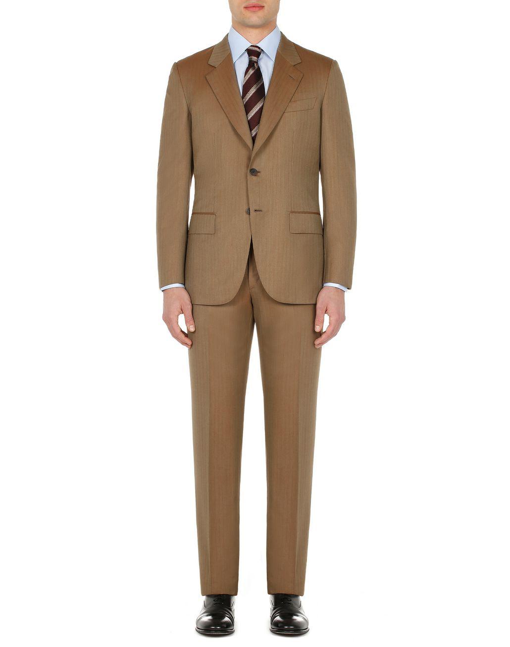BRIONI Camel Herringbone Parioli Suit Suits & Jackets Man r