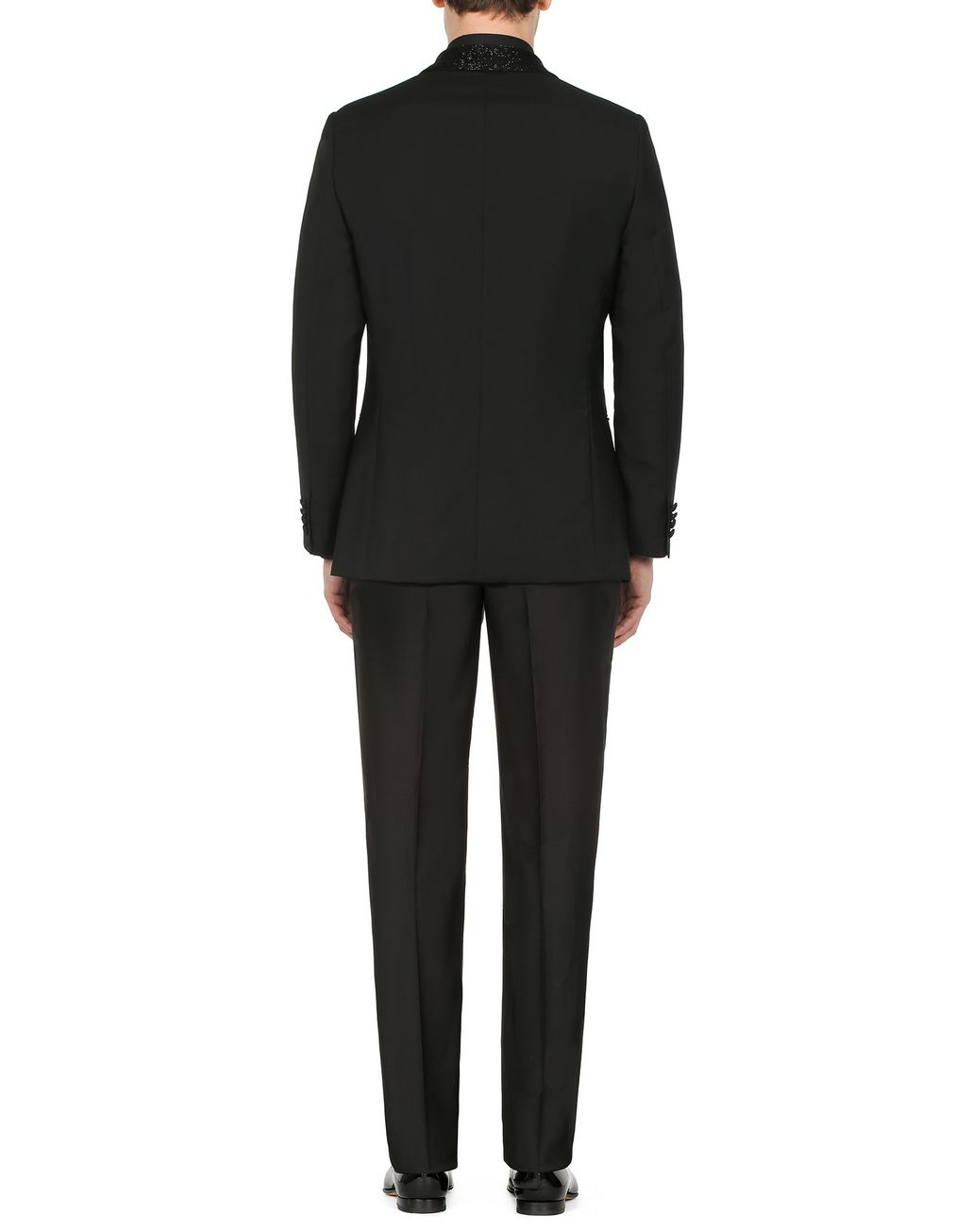 BRIONI Black Parioli Tuxedo with Black Pearl Embroidered Shawl Collar Tuxedo Man d