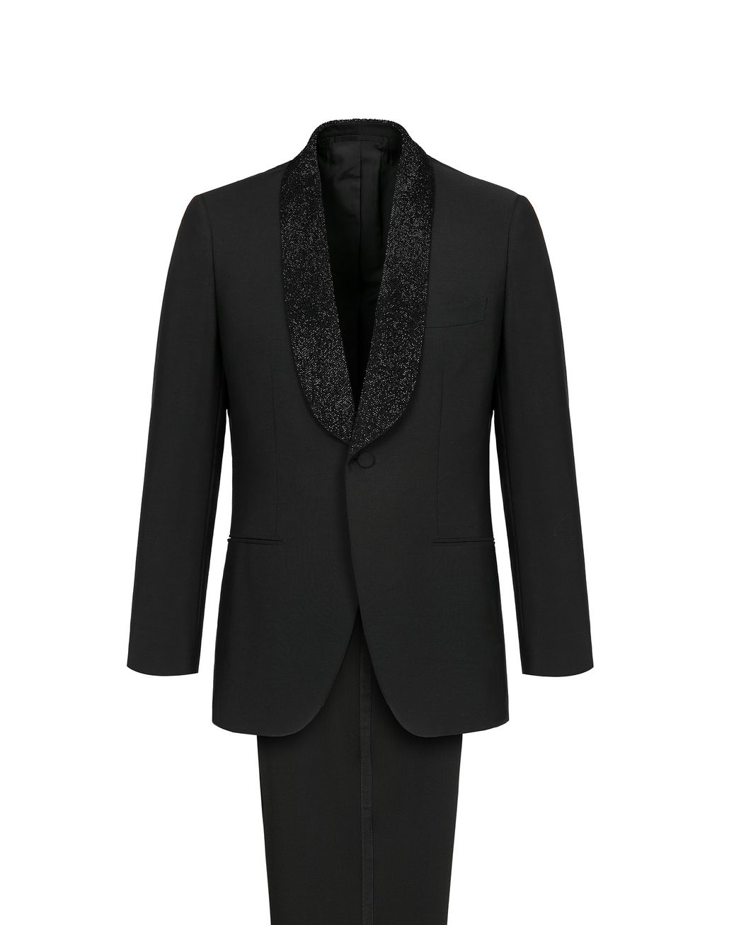 BRIONI Black Parioli Tuxedo with Black Pearl Embroidered Shawl Collar Tuxedo Man f