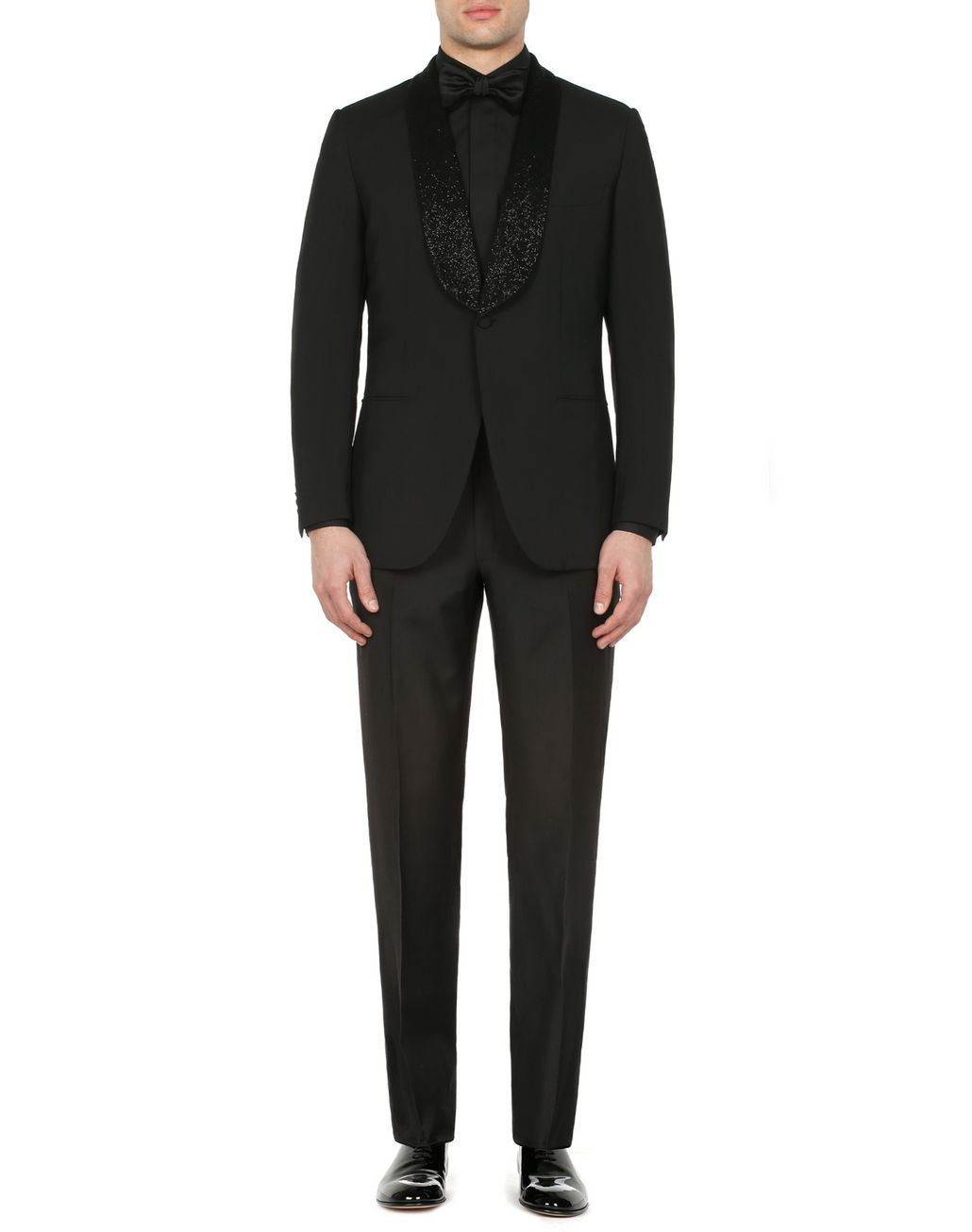 BRIONI Black Parioli Tuxedo with Black Pearl Embroidered Shawl Collar Tuxedo Man r