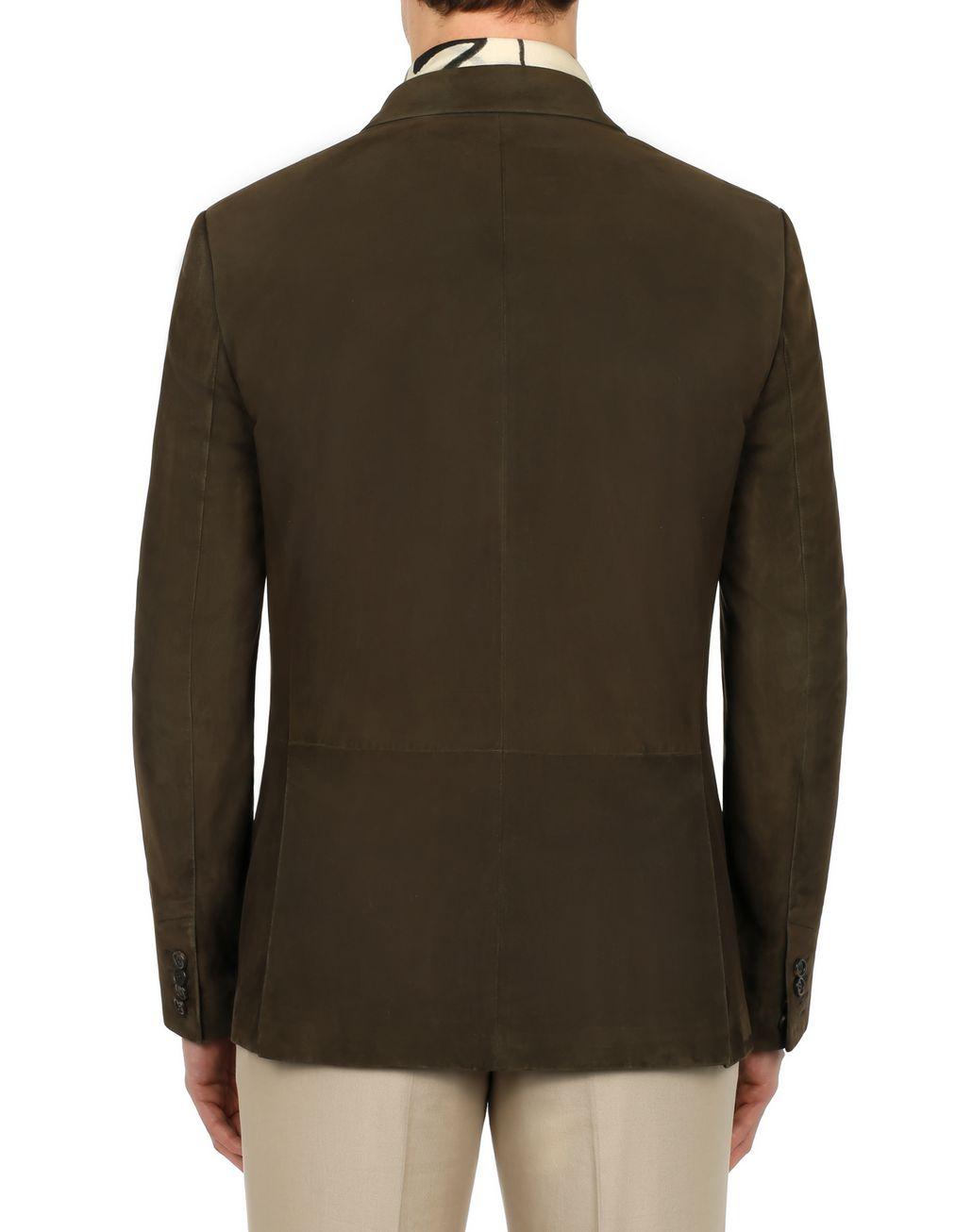 BRIONI Green Suede Blazer Outerwear Man d