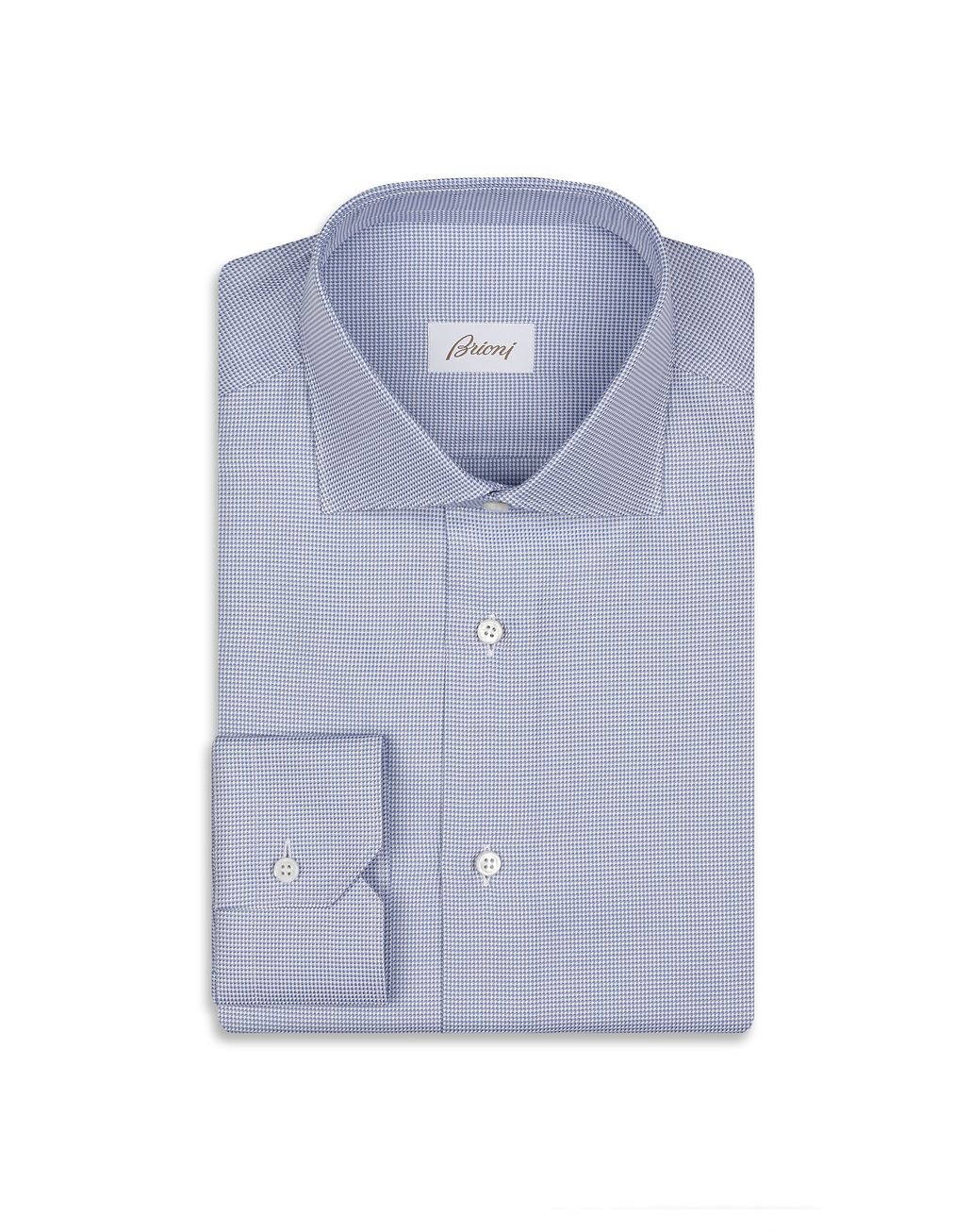 BRIONI Blue and White Micro Design Shirt Formal shirt Man f