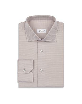 褐色、白色微型图案衬衫