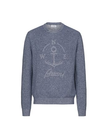 Light Blue Mouline Anchor Sweater