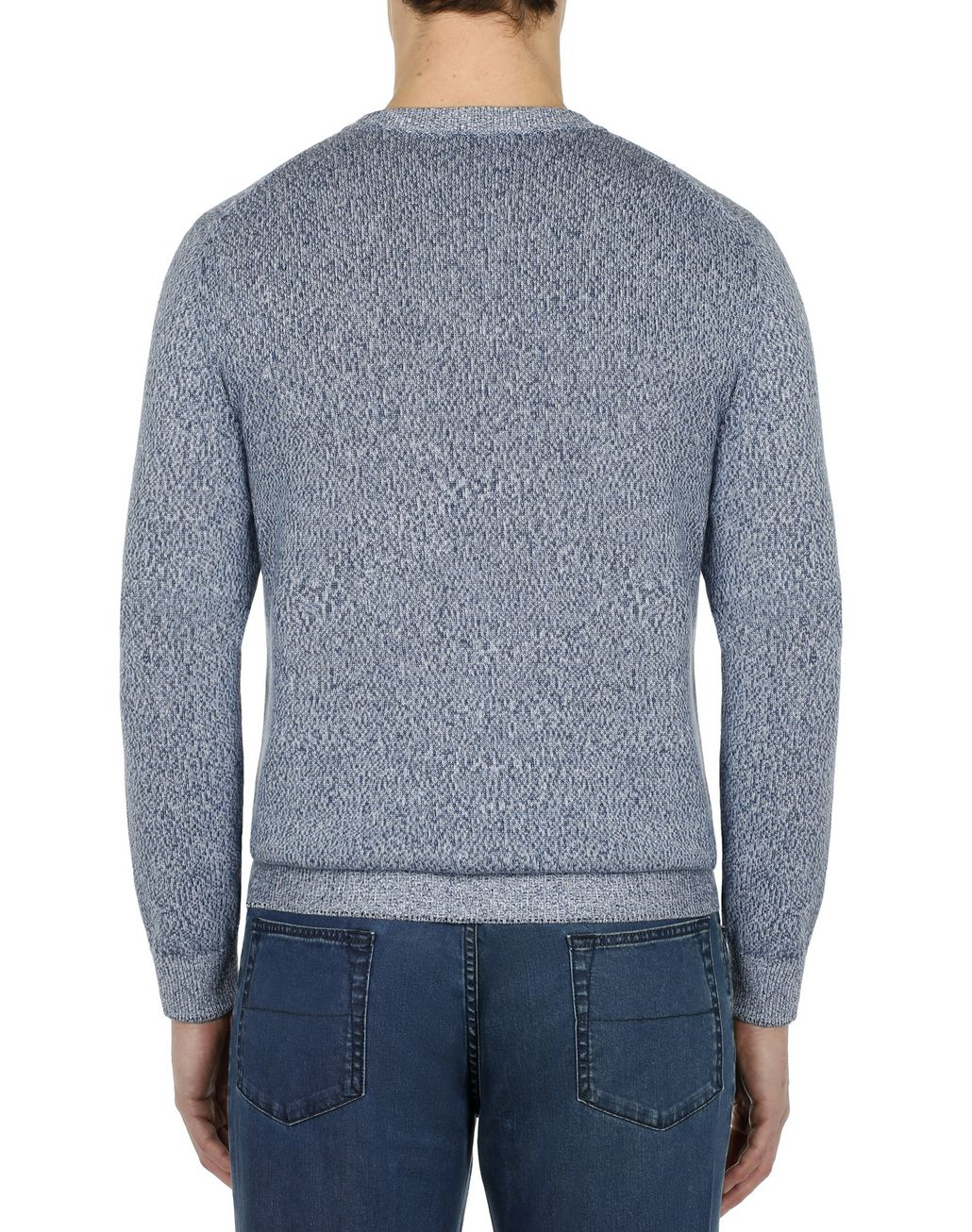 BRIONI Light Blue Mouline Anchor Sweater Knitwear Man d