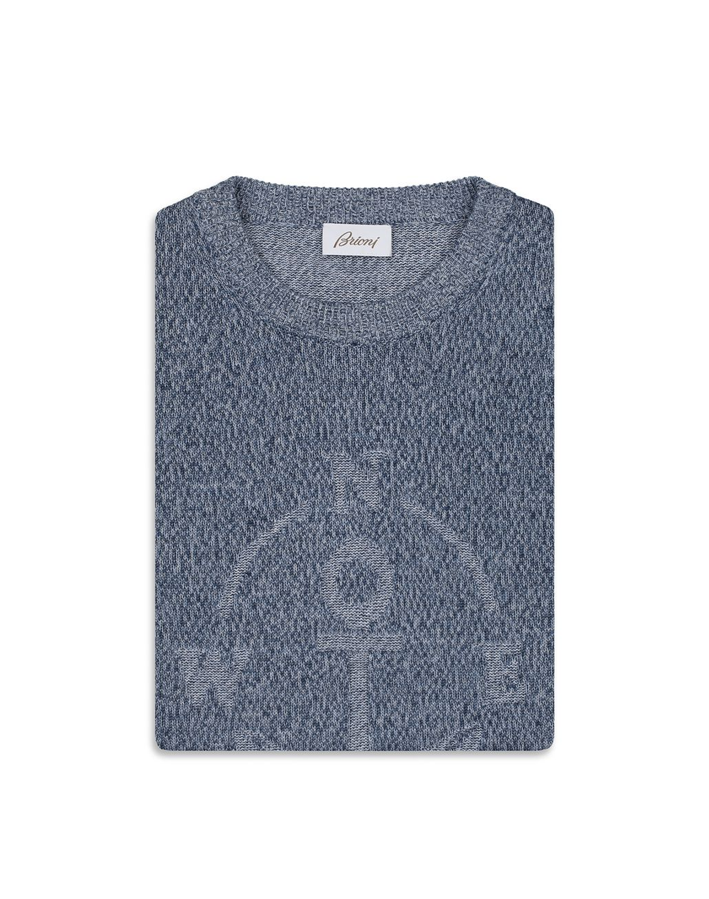 BRIONI Light Blue Mouline Anchor Sweater Knitwear [*** pickupInStoreShippingNotGuaranteed_info ***] e