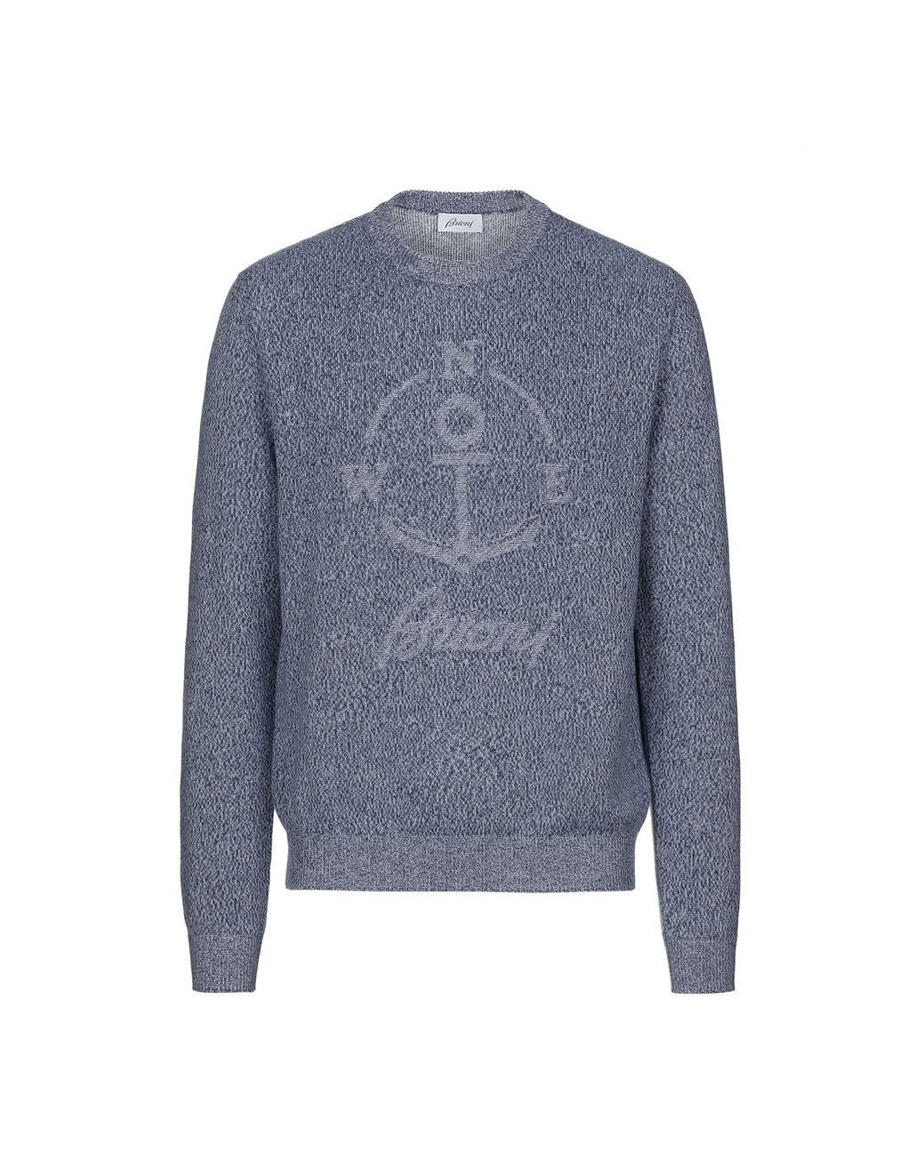 BRIONI Light Blue Mouline Anchor Sweater Knitwear Man f