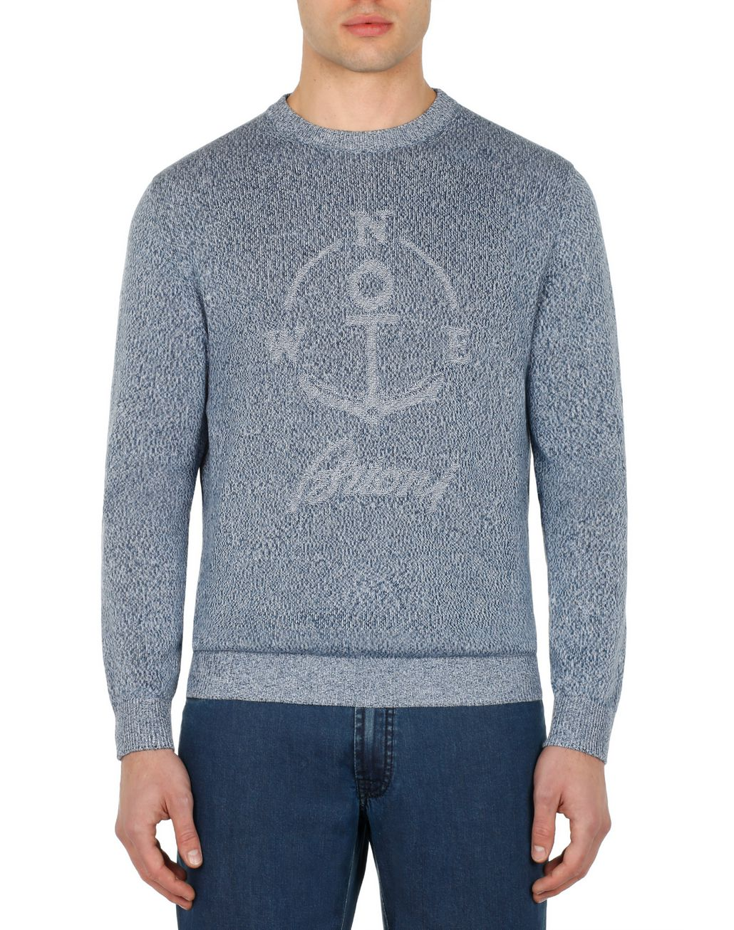 BRIONI Light Blue Mouline Anchor Sweater Knitwear [*** pickupInStoreShippingNotGuaranteed_info ***] r