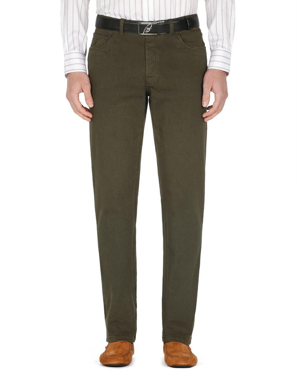 BRIONI Green Denim Trousers Trousers Man r