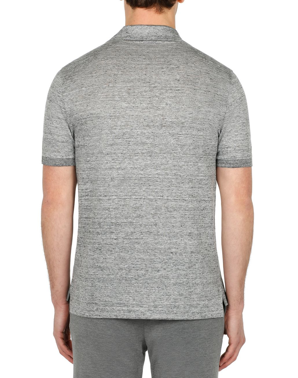 BRIONI Light Grey Linen Polo Shirt T-Shirts & Polos Man d