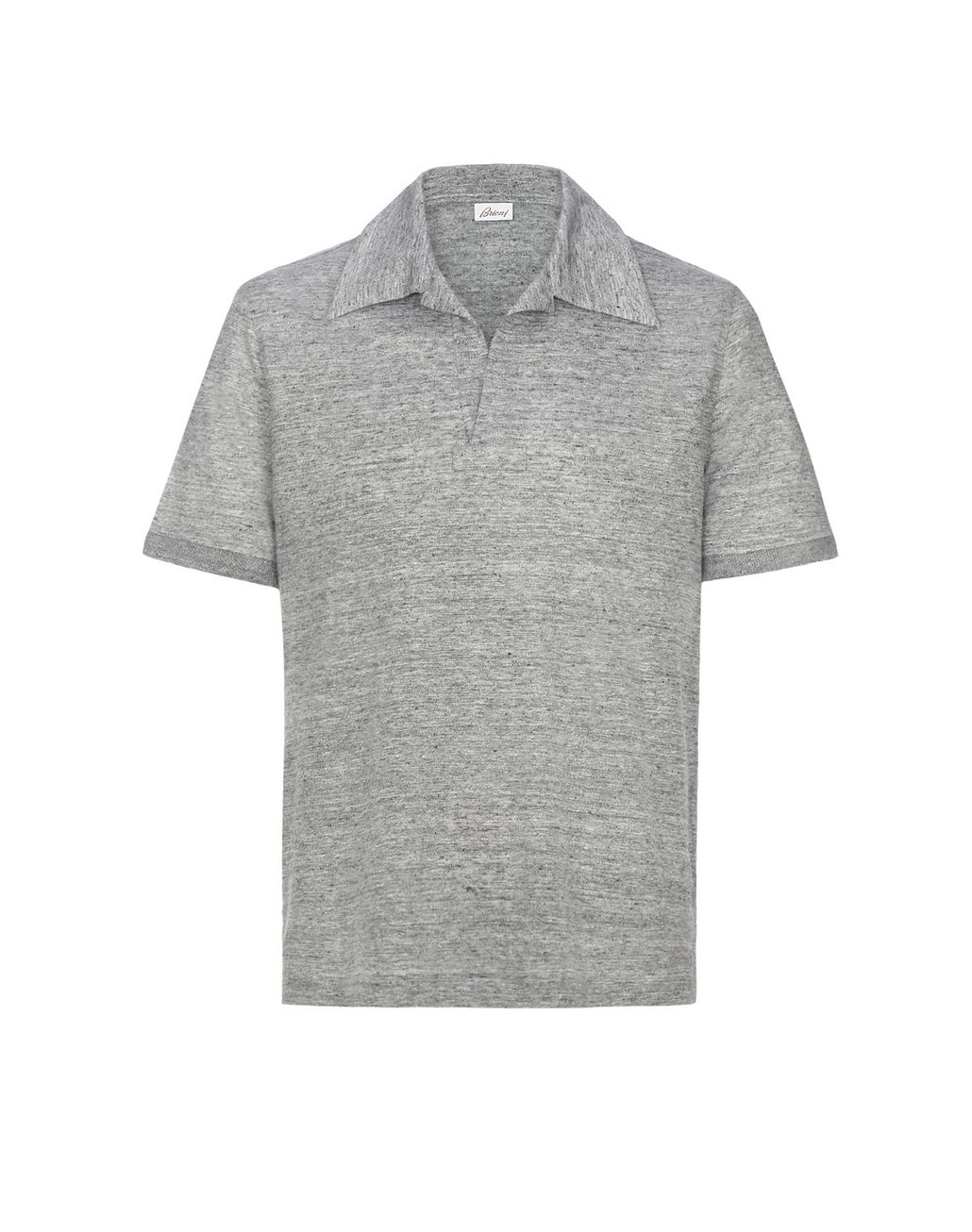 BRIONI Light Grey Linen Polo Shirt T-Shirts & Polos Man f