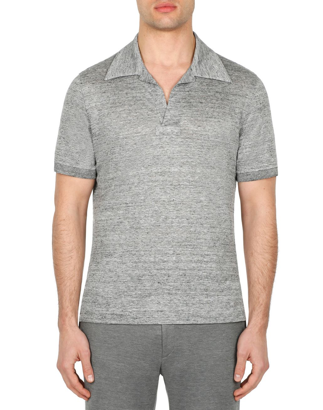 BRIONI Light Grey Linen Polo Shirt T-Shirts & Polos Man r