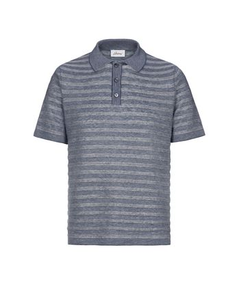 Blue and White Texturized Stripes Polo Shirt