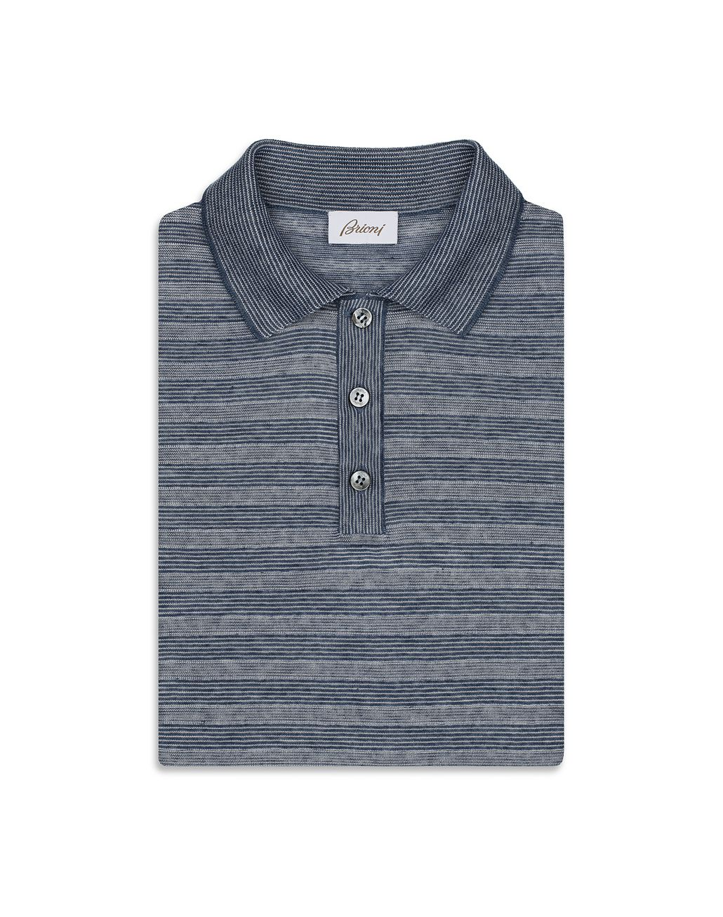 BRIONI Blue and White Texturized Stripes Polo Shirt T-Shirts & Polos [*** pickupInStoreShippingNotGuaranteed_info ***] e