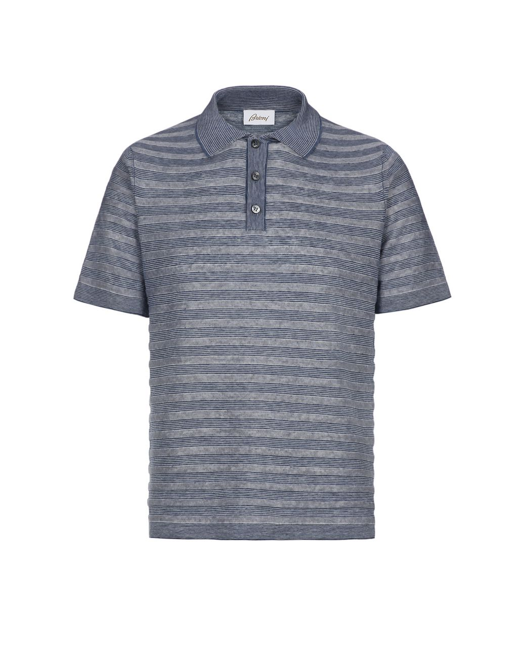 BRIONI Blue and White Texturized Stripes Polo Shirt T-Shirts & Polos Man f