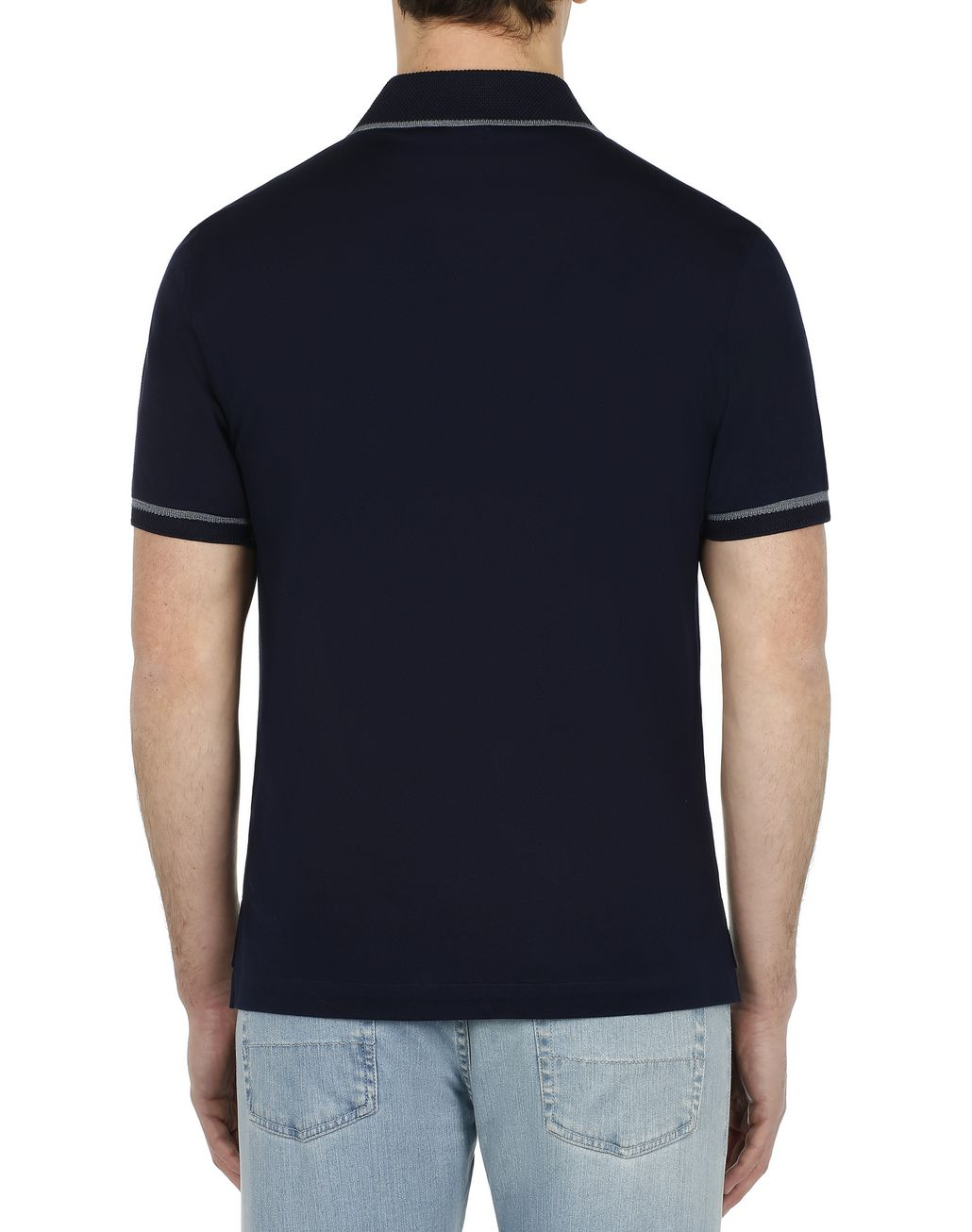 BRIONI Navy Blue Piquet Polo Shirt T-Shirts & Polos [*** pickupInStoreShippingNotGuaranteed_info ***] d