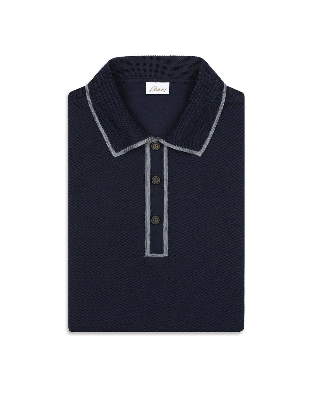 BRIONI Navy Blue Piquet Polo Shirt T-Shirts & Polos [*** pickupInStoreShippingNotGuaranteed_info ***] e