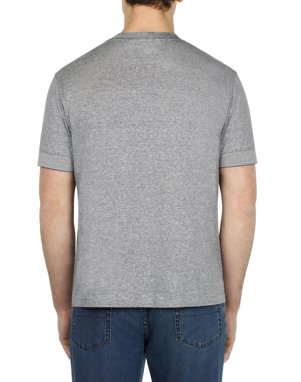 BRIONI Blue and White Thin Stripes T-Shirt T-Shirts & Polos Man d