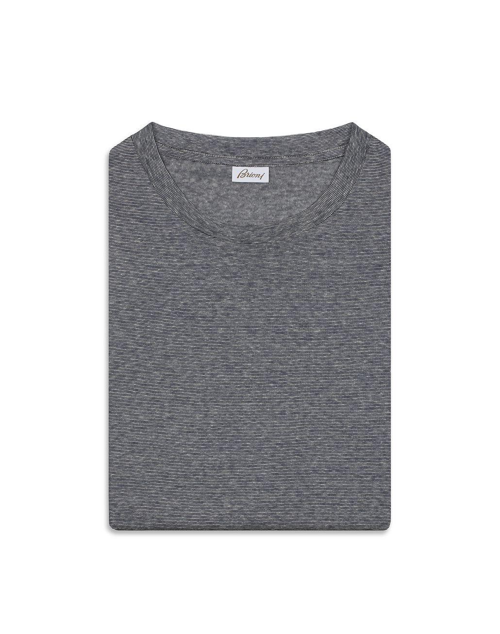 BRIONI Blue and White Thin Stripes T-Shirt T-Shirts & Polos Man e
