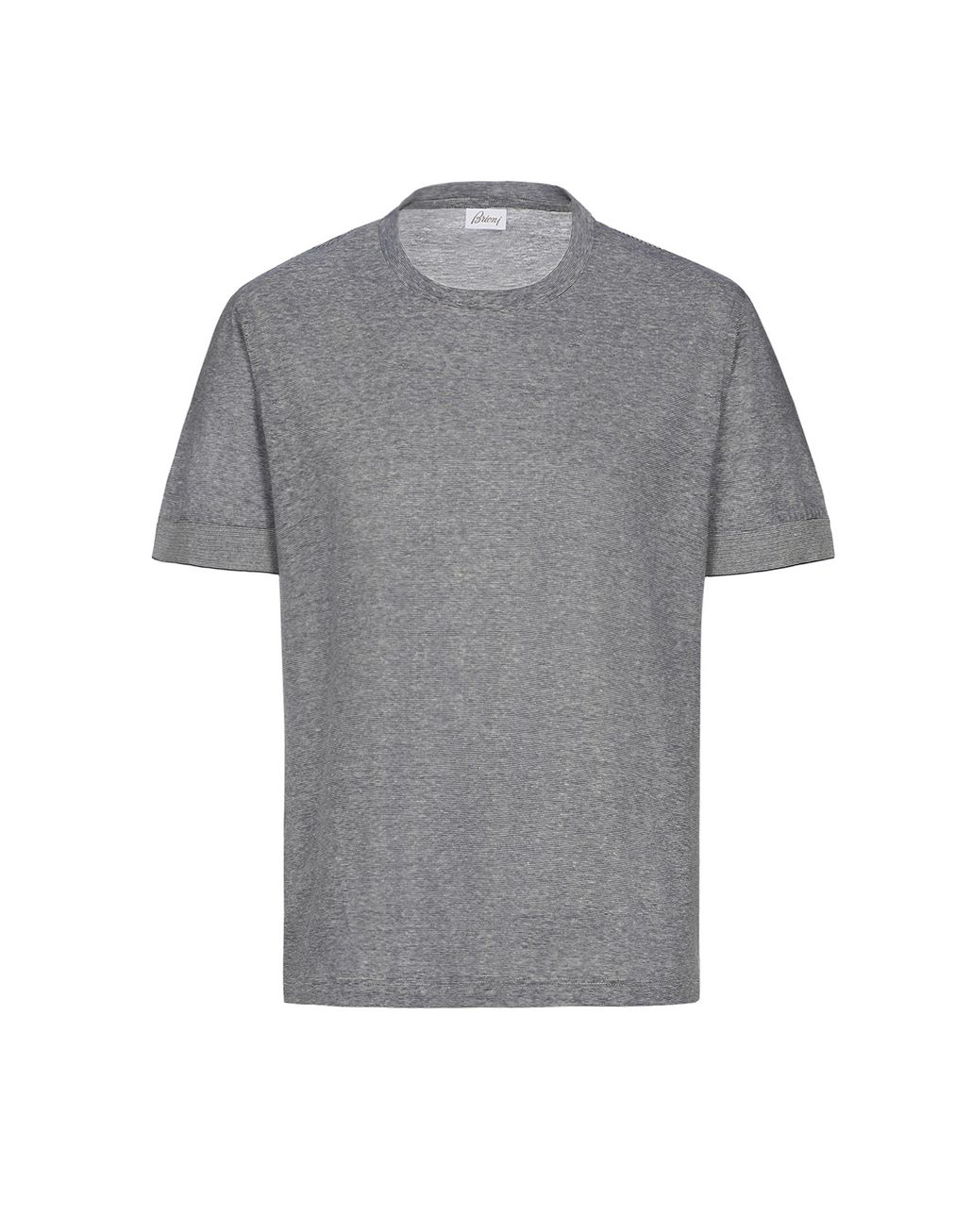 BRIONI Blue and White Thin Stripes T-Shirt T-Shirts & Polos Man f