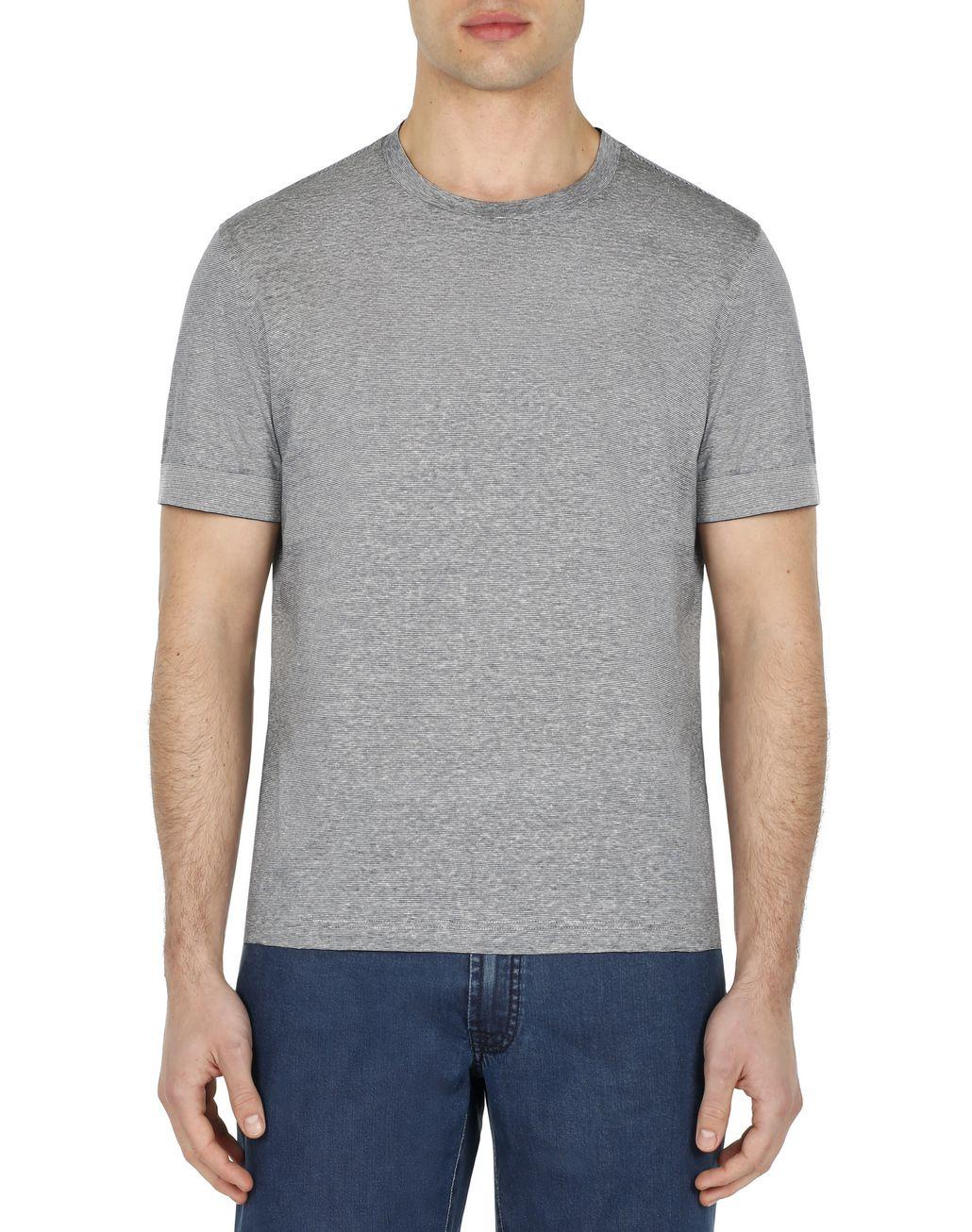 BRIONI Blue and White Thin Stripes T-Shirt T-Shirts & Polos Man r