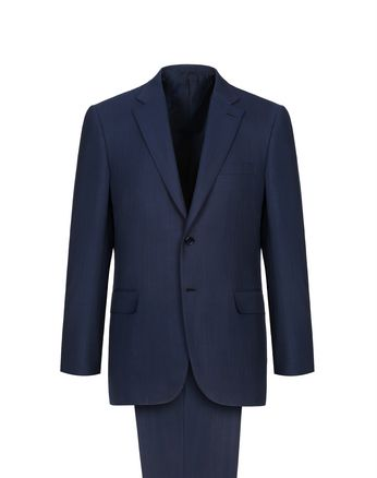 Navy Blue Herringbone Brunico Suit