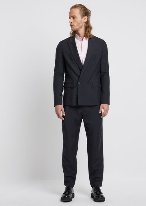 Cool wool suit with double-breasted jacket
