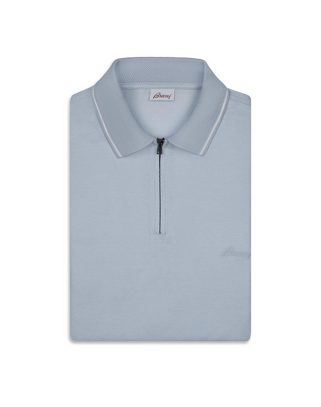 BRIONI Light Blue Piquet Polo Shirt T-Shirts & Polos Man e
