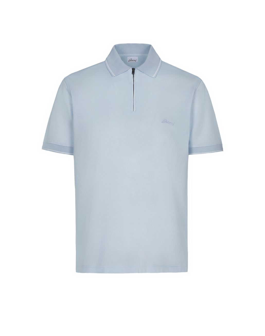 BRIONI Light Blue Piquet Polo Shirt T-Shirts & Polos Man f