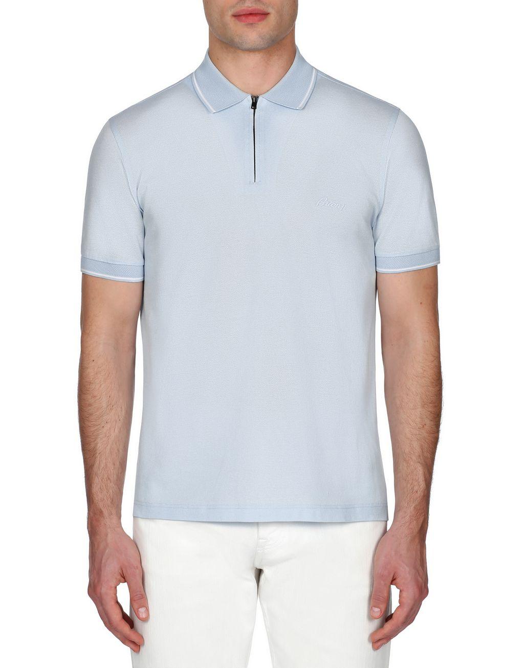 BRIONI Light Blue Piquet Polo Shirt T-Shirts & Polos Man r