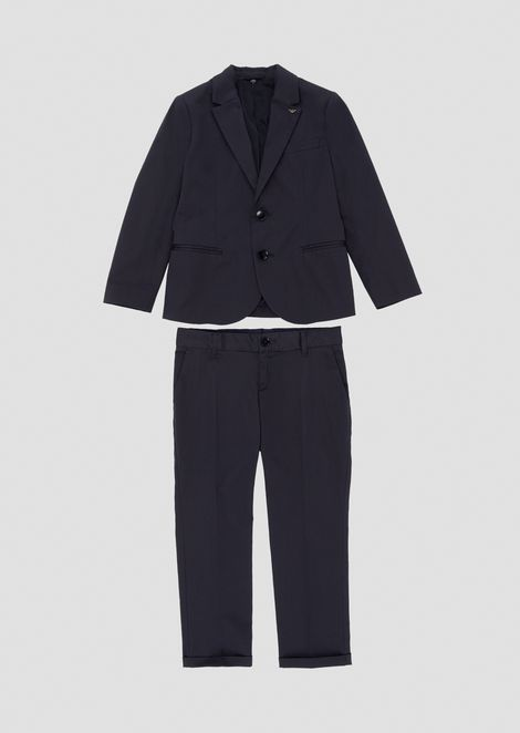 Pure cotton suit with single-breasted jacket