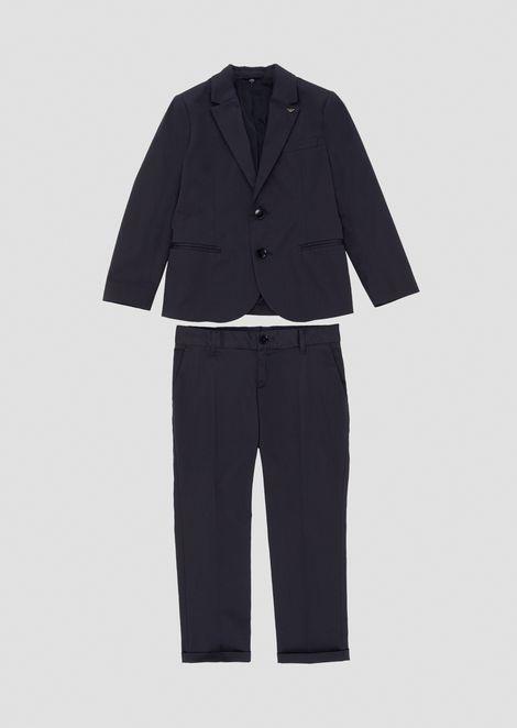 Traje de algodón puro con chaqueta de abotonadura sencilla