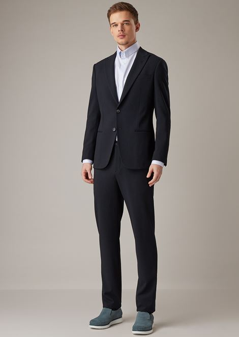 Soho range slim-fit half-canvas suit in stretch honeycomb sablé fabric