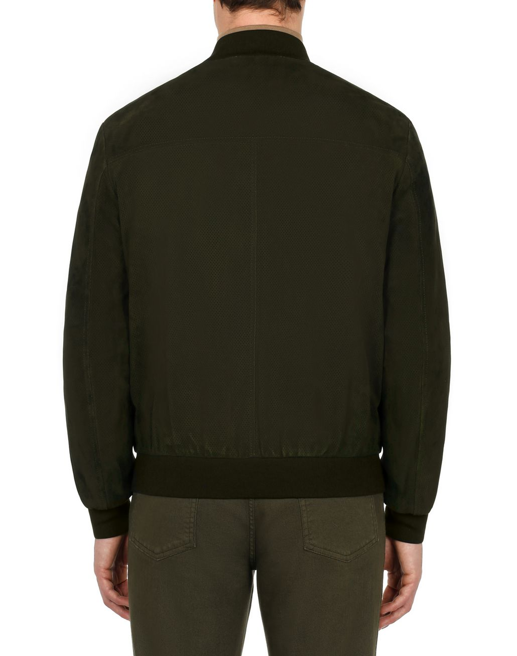 BRIONI Dark Brown Perforated Bomber  Outerwear Man d
