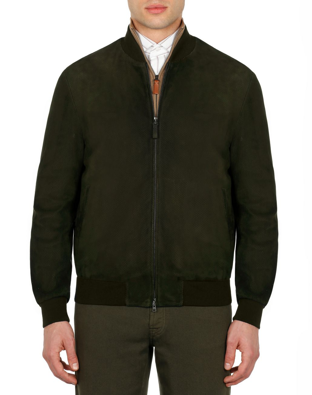 BRIONI Dark Brown Perforated Bomber  Outerwear Man r