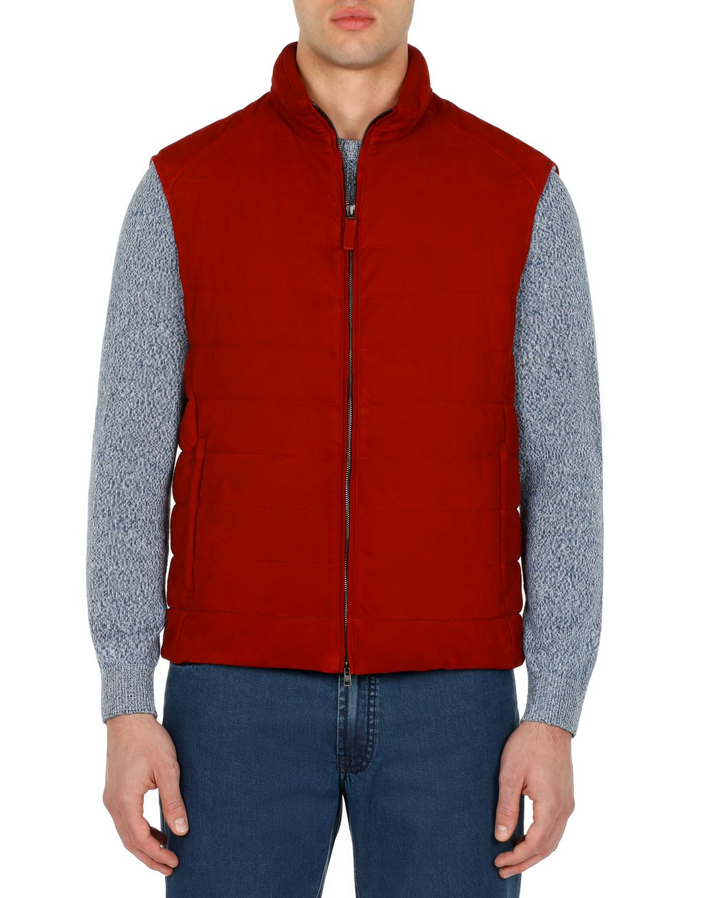 BRIONI Red Padded Vest Outerwear Man r