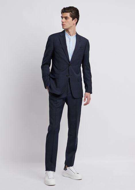 Traje con chaqueta de abotonadura sencilla de tweed de lana virgen 1f44becf026