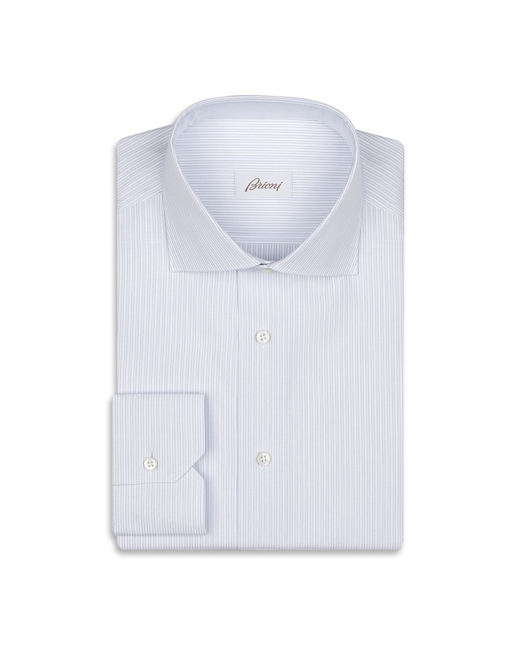 BRIONI White and Light Blue Striped Shirt  Formal shirt Man f