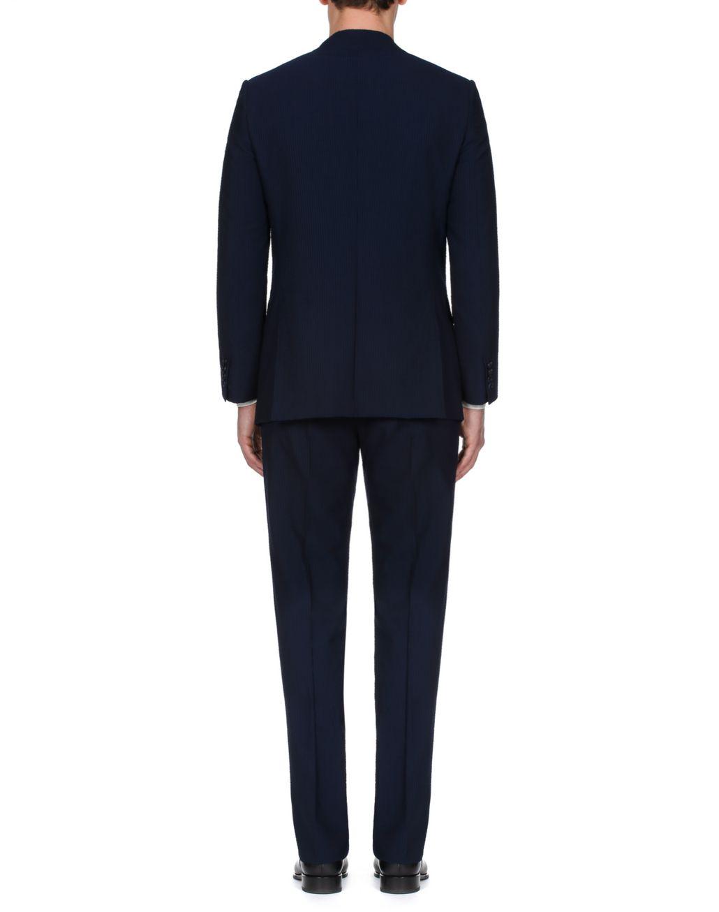 BRIONI Navy Blue Seer Sucker Celio Suit Suits & Jackets Man d