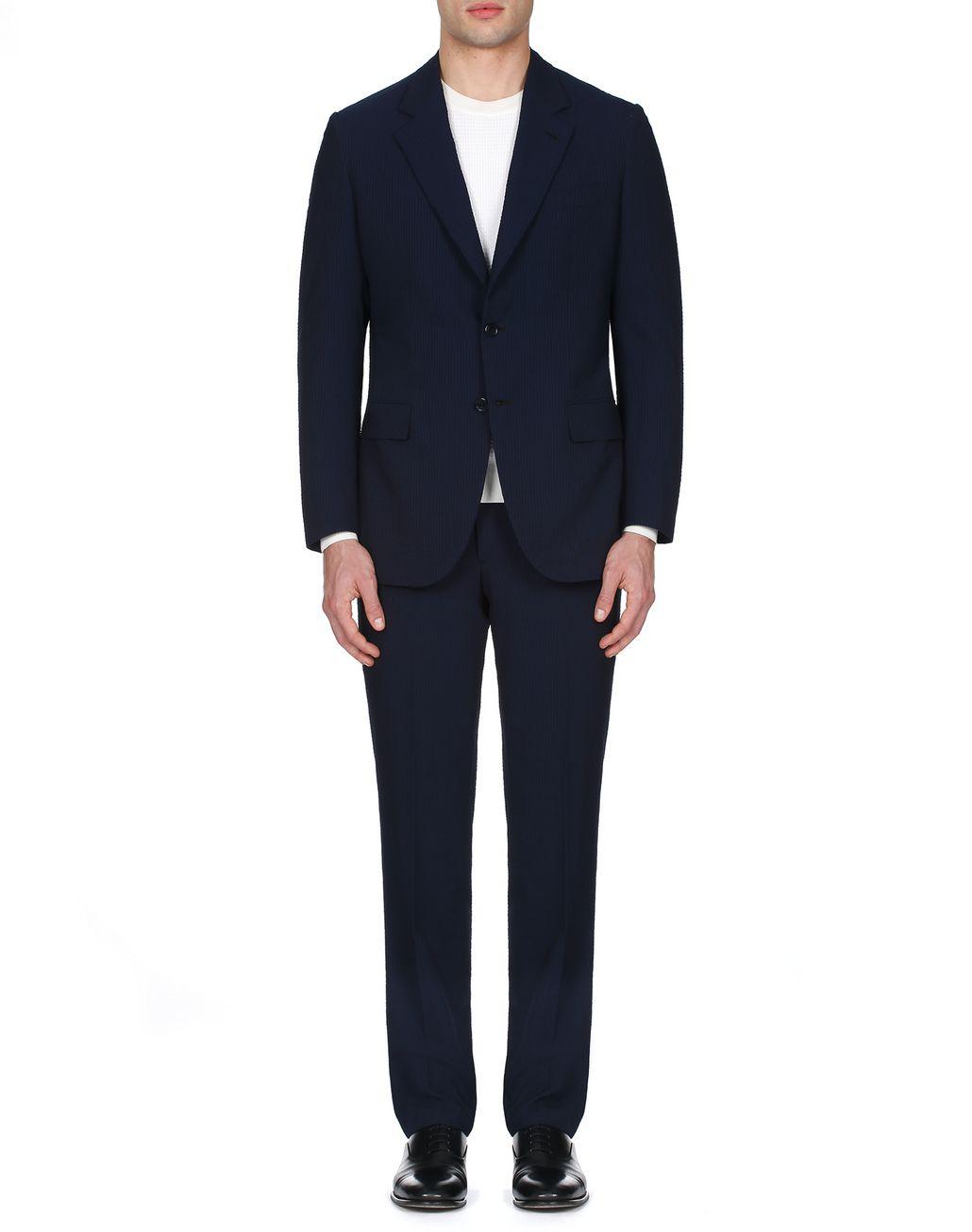 BRIONI Navy Blue Seer Sucker Celio Suit Suits & Jackets Man r