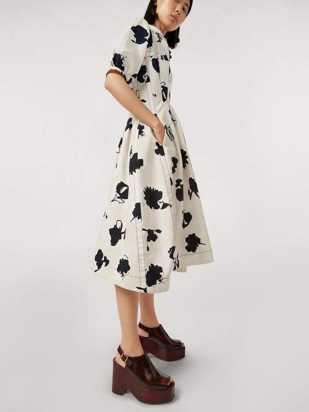 Marni Linen and cotton drill flared dress Happy print Woman - 5