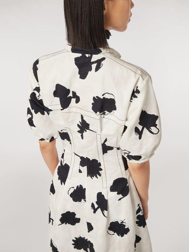 Marni Linen and cotton drill flared dress Happy print Woman - 4